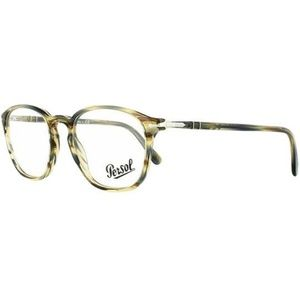 Persol Square Style Striped Brown/Grey W/Demo Lens